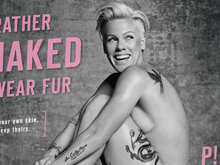 Pink préfère être nue qu'en fourrure!