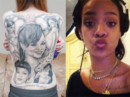 Rihanna : une fan se fait recouvrir le corps de tatouages!