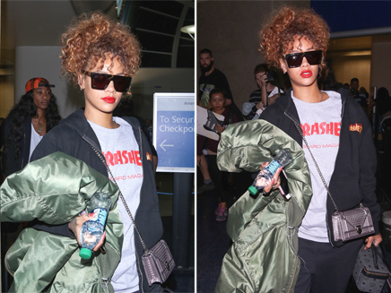 Rihanna : lunettes noires et look décontracté pour son arrivée à Los Angeles!