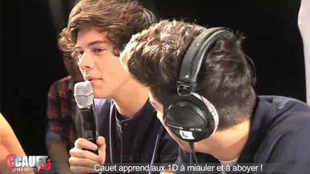 Cauet apprend aux One Direction à miauler et à aboyer