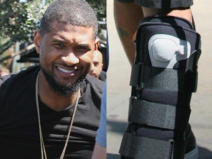 Usher : en béquilles, il garde le sourire!