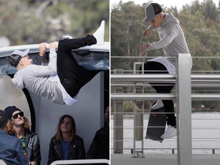 Justin Bieber: acrobaties et skateboard sur la baie de Sydney